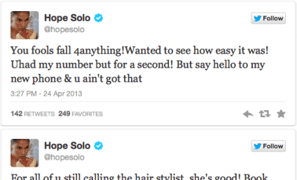 Hope Solo Tweets Phone Number, Claims it Was Joke; Fans Scratch Heads