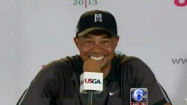 tiger woods surprised by question from niece at press