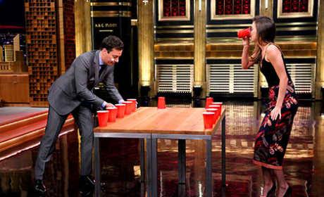Jimmy Fallon Plays Flip Cup Against Miranda Kerr
