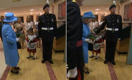 Little Girl Meets Queen, Get Smacked in Face by Nearby Soldier
