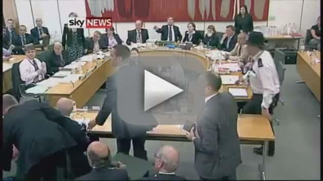 Rupert Murdoch: Attacked by Protestor!