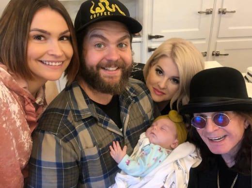 Lisa Osbourne, Jack Osbourne, Kelly Osbourne, Baby Minnie, and Ozzy Osbourne