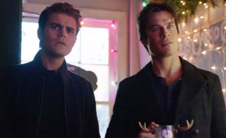 Stefan and Damon on Christmas