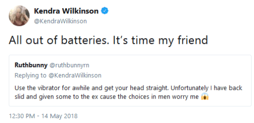 Kendra Wilkinson is out of batteries