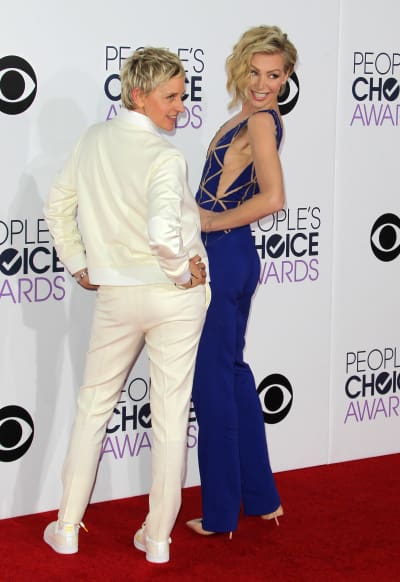 Ellen DeGeneres and Portia de Rossi at the People's Choice Awards
