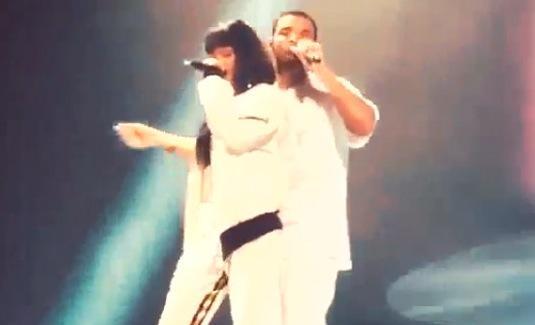 Rihanna and Drake on Stage