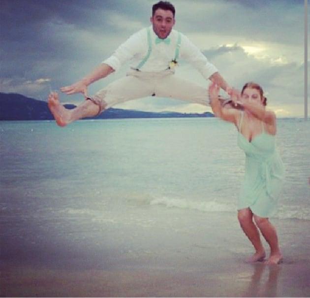 Groomsman Kicks Bridesmaid in Head