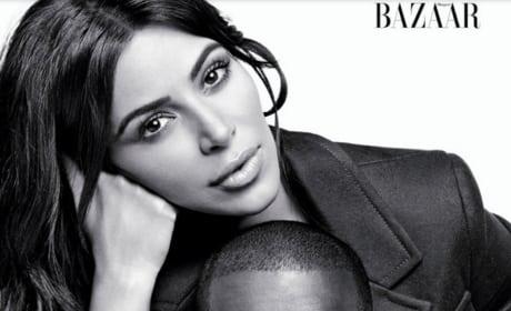 Kim Kardashian Kanye West Black White Harper's Bazaar