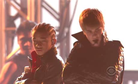 Jaden Smith and Justin Bieber at the Grammys
