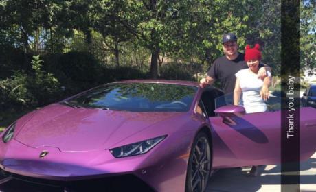Blac Chyna and Rob Kardashian with Lambo
