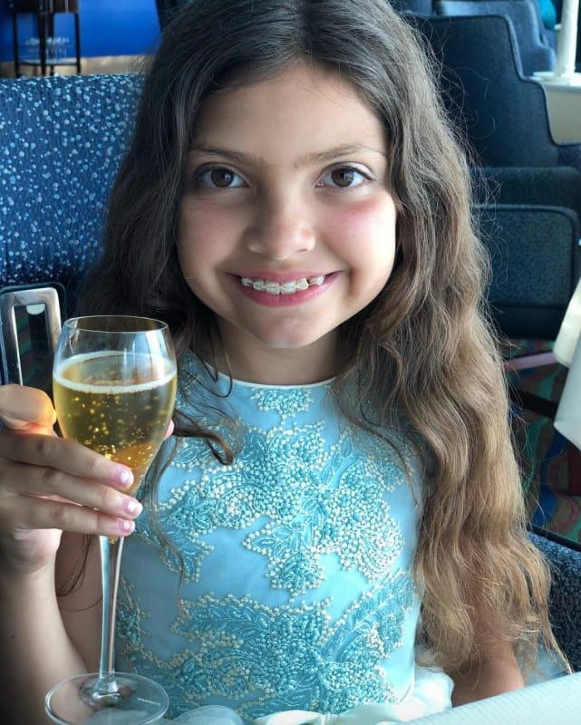 Sophia abraham drinking juice