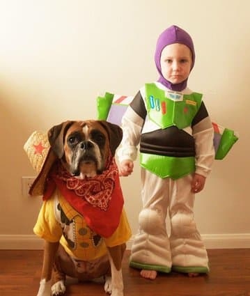 Dog and Kids Wear Matching Halloween Costumes , The