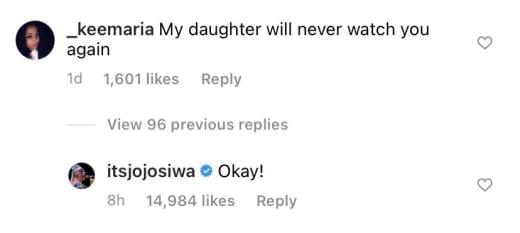 """JoJo Siwa IG """"okay"""" response to homophobia"""
