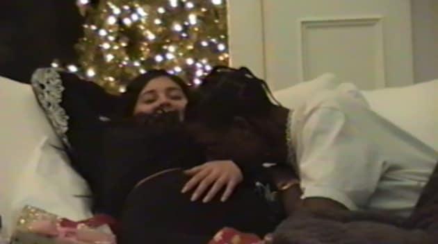 Travis Scott Kisses Kylie Jenner's Baby Bump