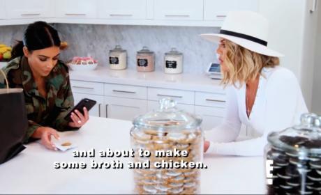 Khloe Kardashian and Kim Kardashian on the Phone