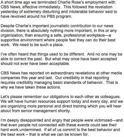 CBS statement