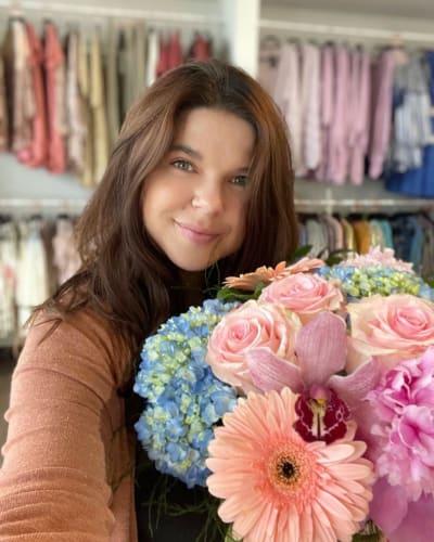 Amy Duggar with Flowers
