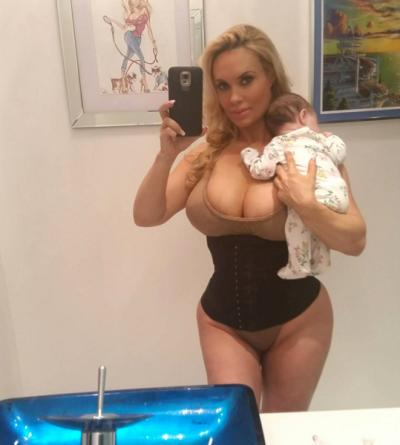 Coco Austin with baby and waist trainer