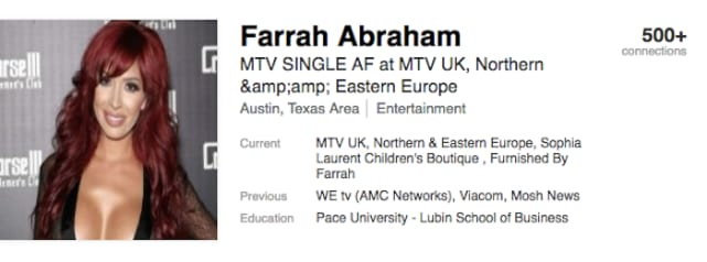 Farrah Abraham: Hilarious, Delusional LinkedIn Profile Revealed!