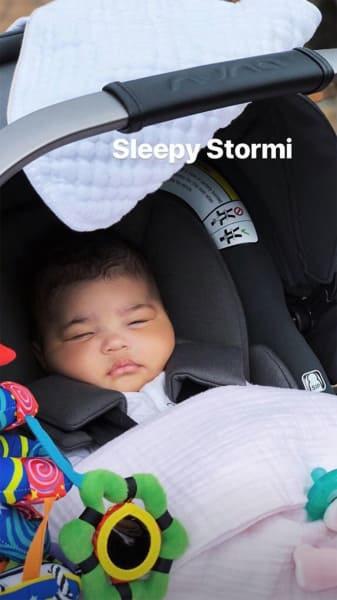 Stormi Webster Asleep in Her Stroller