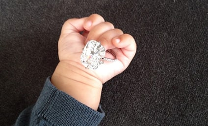 North West Holds Kim Kardashian Engagement Ring, Starts Off 2014 in Style