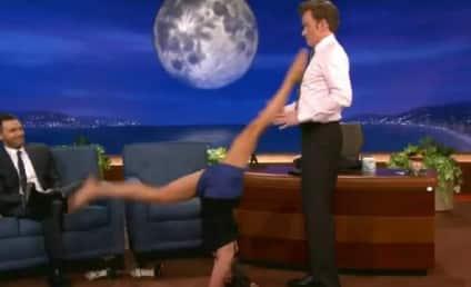 Nina Dobrev Appears on Conan, Performs Crotch-Based Yoga