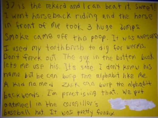 Kid Note From Camp, Part 2