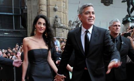 Amal Alamuddin and George Clooney Look Happy