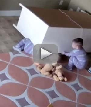 2 year old plays hero lifts fallen dresser off twin