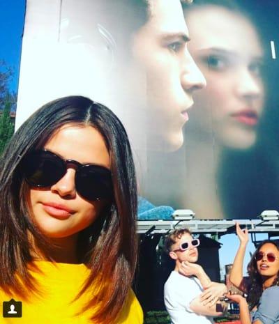 Selena Gomez in Front of Billboard