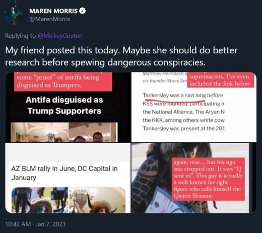 Maren Morris tweet - my friend's dangerous conspiracy theory tweets