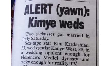"Kimye Wedding SKEWERED By New York Post in Awesome ""Article"""