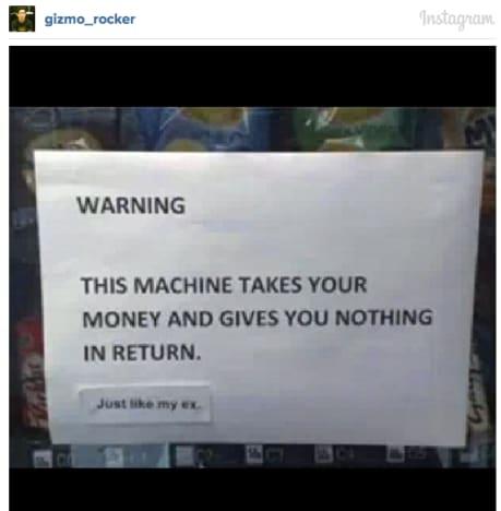 Hilarious Vending Machine Note