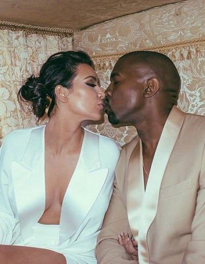 Kim Kardashian Smooches Kanye