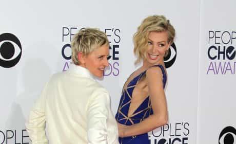 Ellen DeGeneres and Portia de Rossi at the People's Choice Awards