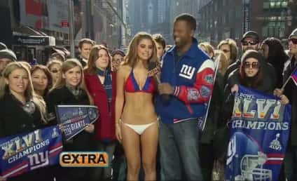 Maria Menounos Loses Super Bowl Wager, Clothing