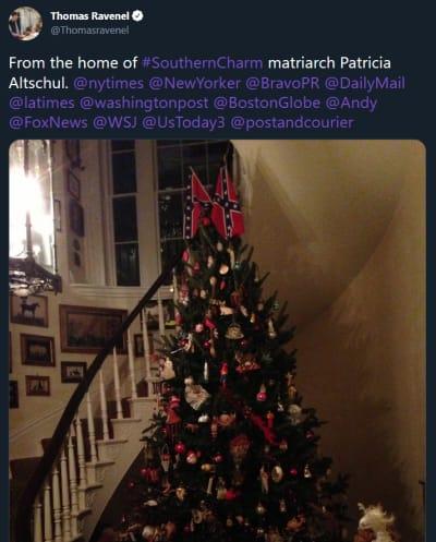 Thomas Ravenel tweet - Patricia Altschul confederate tree