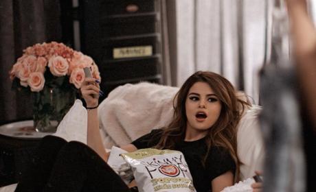 Selena Gomez Eats Popcorn