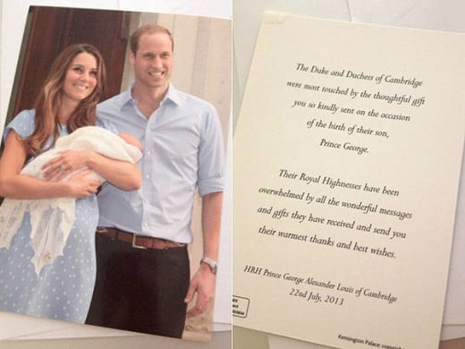Royal Baby Thank You Notes: CUTE! - The Hollywood Gossip