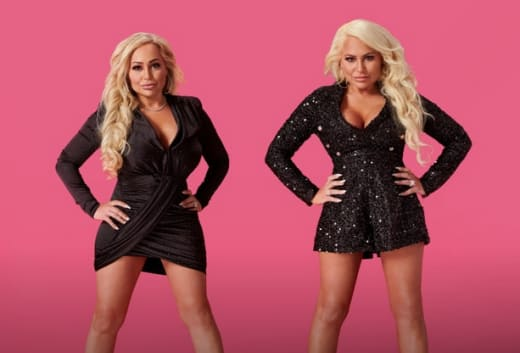 Darcey Silva and Stacey Silva with a pink background