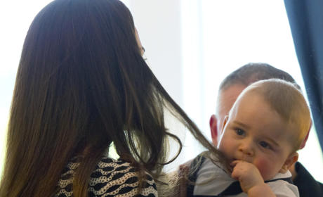 Prince George Chews On Kate Middleton's Hair