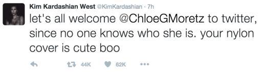 Kim Kardashian Tweets to Chloe Moretz