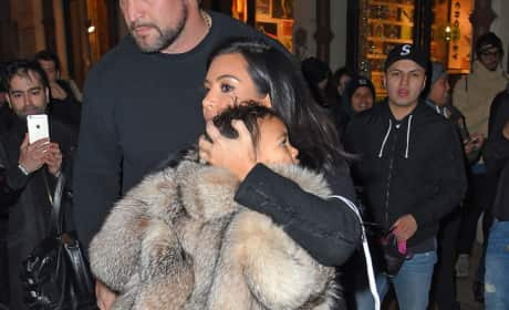 Kim Kardashian and North West in Fur