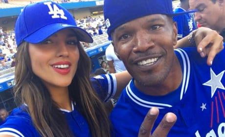 Eiza Gonzalez Jamie Foxx LA Dodgers