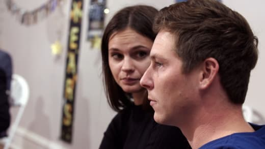 Brandon Gibbs and Julia Trubkina are stoney-faced during ambush