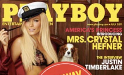 """Hugh Hefner Alters Crystal Harris Playboy Cover With """"Runaway Bride"""" Stamp"""