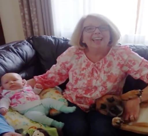 cute dog and grandma