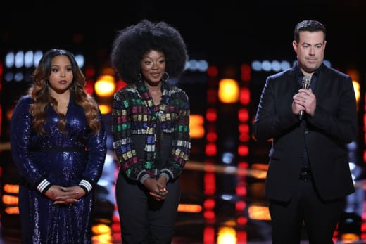 Sharane Calister, Christiana Danielle and Carson Daly on The Voice