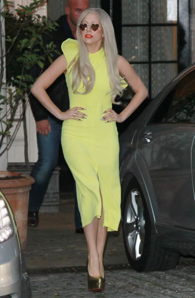Lady Gaga in a Yellow Dress
