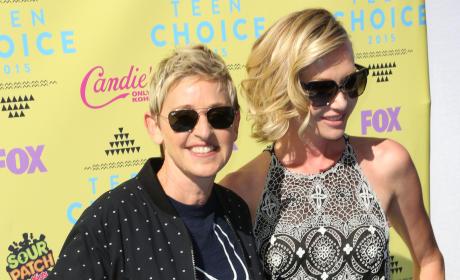 Ellen DeGeneres and Portia de Rossi at Teen Choice Awards